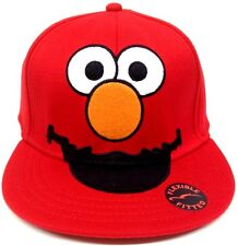 SESAME STREET BIG FACE ELMO FLEX FIT HAT STRETCH CAP FLAT BILL RED ONE SIZE CUTE