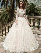 New Lace Bridal Gown White Ivory Wedding Dress Custom Size 6/8/10/12/14/16/18/20