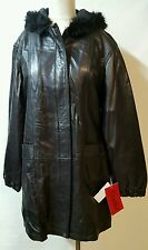 Excelled Black 100% Leather Parka Coat Size XL Hood Zipper  Deep Pockets