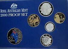 2000 Royal Australian Mint Millennium Celebration Proof  Set Coloured 50 Cents