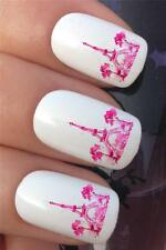 WATER NAIL TRANSFERS PINK PAINT EIFFEL TOWER PARIS FRANCE DECALS STICKERS *364