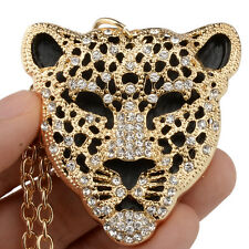 18K Gold GP Leopard Panther Head Pendant Necklace Rhinestone Crystal Clear