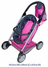 BABY DOLL PRAM 4 WHEELER WITH REMOVABLE BASKET PRETEND PLAY TOY STROLLER