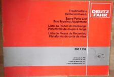Deutz Fahr Reihenmähwerk RM 2 FH Ersatzteilliste