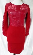 NEW WOMENS Sheepskin Leather Lace Steampunk Dress STYLEWE CRANBERRY RED M 0-2
