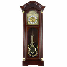"BEDFORD 33"" CHERRY OAK FINISH GRANDFATHER WALL CLOCK with PENDULUM & 4 CHIME NEW"