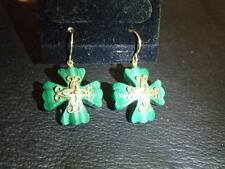 Maltese Cross Malachite Gemstone Dangle Earrings 14K Gold. QVC $150.00.