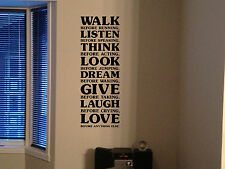 "60"" WALK BEFORE RUNNING DREAM LOVE LAUGH QUOTES STICKER VINYL DECAL WALL RN"