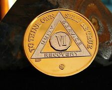 Gold Silver Bi Plated Alcoholics Anonymous AA 6 Year Medallion Coin Chip Token
