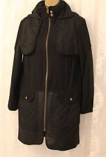 Asos Quilted Patch Elbow Hooded Black Wool BIker Long Zip Coat 8 36