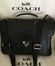 COACH 72070 Flap Briefcase in Refined Calf Leather Silver/Black NWT
