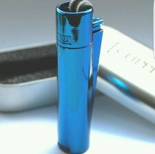1x New Clipper Icey Blue Metal Lighter Butane Refillable comes w/ 1 Silver Case