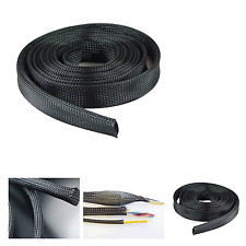 "100Ft 1"" in Expandable Cable Management Sock Wrap Jacket Cabling Organizer Black"