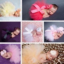 Newborn Baby Headband +Tutu Skirt Clothes Photo Prop Costume Outfits Headdress