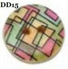 PACK OF 30 BOTTONI IN LEGNO 15mm - DISEGNO STAMPATO - 2 HOLES DD15