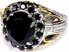 Thai Black Spinel, Topaz Ring Platinum Overlay Sterling Silver (Size 9) 8.85 Cts
