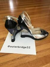 JIMMY CHOO Metallic Open Heel Wedge size 41