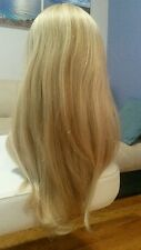 100% Human European Hair Wig Hand Tied Top Lace Front Blonde Long Medium size