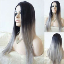 Full Wig Long Straight Front Black Gray Gradient Ombre Heat Resistant Hair Long