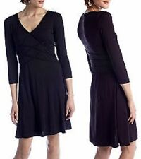 Sophie Max Studio Black Solid Jersey Dress w/Criss Cross Piping, S - MSRP $98