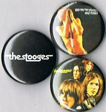 Stooges set of 3 pins buttons badges iggy pop raw power s/t