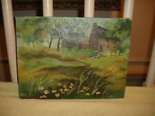 Vintage Pat Cohen? Oil Painting On Canvas-Country Farmhouse Trees Grass Flowers