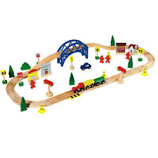 Wooden Train Set Toy - 60 Piece - BRIO Compatible. By Chad Valley