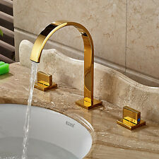 Gold Polished Double Handles Widespread Bathroom Basin Faucet Sink Mixer Tap