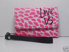 Victorias Secret pink white with  lips  WALLET CLUTCH case FOR IPHONE 5 NEW