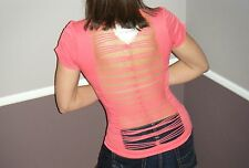 Very Sexy Slimming Shredded Laser Slash Cutout Punk Emo Seamless Top Coral OS