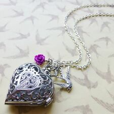 GORGEOUS ANTIQUE SILVER TONE HEART POCKET WATCH PURPLE ROSE BIRD CHARM NECKLACE