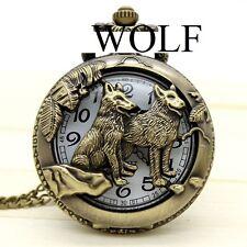 THU-2017.9 Taschenuhr Spungdeckeluhr Herrenuhr Pocket Watch Wolf Hund Bronze