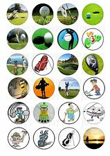 24 GOLF GOLF BALLS CUPCAKE TOPPERS ICED ICING FAIRY CAKE