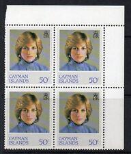 Isole Cayman sg552w 1982 Principessa Diana 50c WMK invertito blocco di 4 Gomma integra, non linguellato