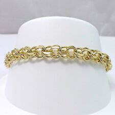 """14K YELLOW GOLD SOLID DOUBLE LINK WIRE CHARM BRACELET 7.25"""""""