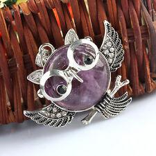 Amethyst Quartz Gemstone White Crystal Rhinestone Owl Bird Animal Pendant Charms