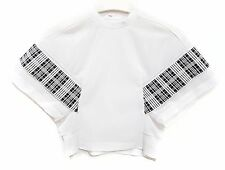 NEW TOGA PULLA ARCHIVES White Mesh Cropped Check Dolman Batwing Blouse Top 38