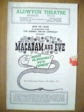 ALDWYCH THEATRE PROGRAMME 1951- MACADAM AND EVE- ROGER MACDOUGALL