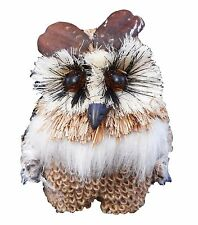 "5 "" Burlap Grass Feather Owl Decorative Accessory Ornament Figurine"