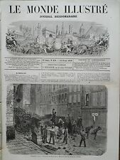 LE MONDE ILLUSTRE 1870 N 670 TROUBLES A PARIS /  LES BARRICADES A BELLEVILLE