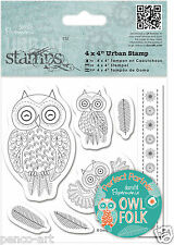 Papermania urban rubber stamp set of7 Owl folk characters owls feathers & border