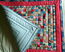 Handmade Small Patchwork Quilt Blue Pink Throw Baby Child Playmat Floral NEW