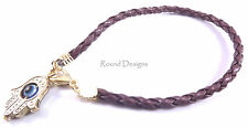 Hamsa Brown Leather Bracelet Evil Eye Kabbalah Gold Hand Fatima Friendship Gift