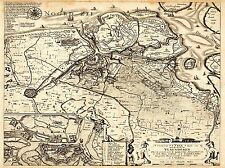 MAP ANTIQUE NETHERLANDS NORTH SEA ART POSTER PRINT LV2127