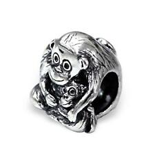 925 Sterling Silver Mother/Baby Monkey Animals Bracelet Charm Bead Gift Box B317