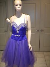 MAY QUEEN COUTURE U.S.A PURPLE PROM EVENING COCKTAIL RHINESTONE DRESS NWT 8