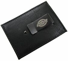 New Dickies Mens Leather Front Pocket Money Clip Card Case Wallet, Black