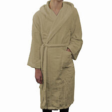 Hooded Bath Robe Frette Italian 100% Cotton Soft Dressing Gown Light Brown L/XL