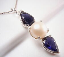 Blue Iolite Cultured Pearl Necklace 925 Sterling Silver Corona Sun Jewelry