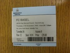 27/11/2003 Ticket: Newcastle United v Basel [UEFA Cup]. Trusted sellers on ebay
